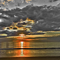 Sunrise-hdr-bw With A Touch Of Color by Claudia M Photography