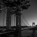 Sunrise On The Gwb, Nyc - Bw Landscape by James Aiken