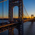 Sunrise On The Gwb, Nyc - Portrait by James Aiken