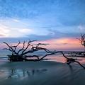 Sunrise On Abandoned  Jekyll Shore  by Harriet Feagin