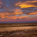 Sunrise On The Plains - Moon Over Prairie In Eastern Colorado by Southern Plains Photography