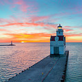 Sunrise Over Lake Michigan Scenic Harbor, Lighthouse With Seagulls. by James Brey