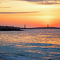 Sunrise Over Thacher Island From Long Beach In Gloucester Ma Golden Sunrise by Toby McGuire