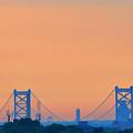 Sunrise Over The Ben Franklin Bridge by Bill Cannon