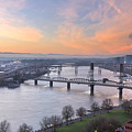 Sunrise Over Willamette River By Portland by David Gn