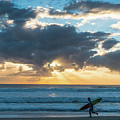 Sunrise Surfer Running Delray Beach Florida by Lawrence S Richardson Jr