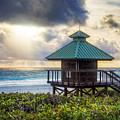 Sunrise Tower At The Beach by Debra and Dave Vanderlaan