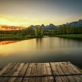 Sunset Above A Lake In High Tatra Mountains In Slovakia by Miroslav Liska