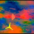 Sunset Abstract With Windmill by Debra Lynch