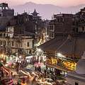 Sunset And Light Trails In The Heart Of Kathmandu Old Town In Ne by Didier Marti