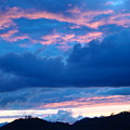 Sunset Art Print Blue Twilight Clouds Pink Glowing Light Over Mountains by Baslee Troutman