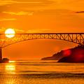 Sunset At Deception Pass Bridge by Hisao Mogi