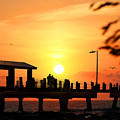 Sunset At Fort De Soto Fishing Pier Pinellas County Park St. Petersburg Florida by Mal Bray