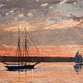 Sunset At Gloucester by Winslow Homer