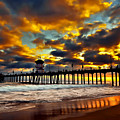 Sunset At Huntington Beach Pier by Peter Dang