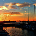 Sunset At Newport Beach Harbor by Tommy Anderson