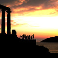 Sunset At Temple Of Poseidon by Carl Purcell