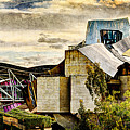 sunset at the marques de riscal Hotel - frank gehry - vintage version by Weston Westmoreland