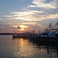 Sunset At White Marlin Marina by Robert Banach