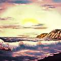 Sunset Beach Pastel Splash - Elegance With Oil by Claude Beaulac