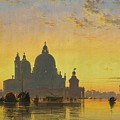 Sunset Behind The Church Of Santa Maria Della Salute by Edward William