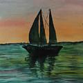 Sunset Boat 2 by Yael Ungar