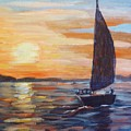 Sunset Boat by Saga Sabin