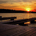 Sunset By The Dock On The Lake by Mark Miller
