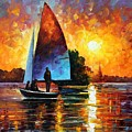 Sunset By The Lake by Leonid Afremov