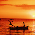 Sunset Canoe Jump by Vince Cavataio - Printscapes
