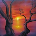 Sunset Dance Fantasy Oil Painting by Natalja Picugina