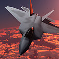 Sunset Fire F22 Fighter Jet by Corey Ford