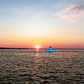 Sunset Fishing Boat Off Dewey Destin Fl Pier 1208a by Ricardos Creations