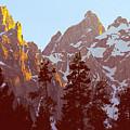 Sunset Gold Tetons Nat by Alan Lenk