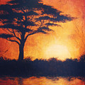 Sunset In Africa In Bright Orange Tones With A Tree Silhouette Beautiful Colorful Painting by Jozef Klopacka