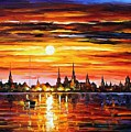 Sunset In Barcelona by Leonid Afremov