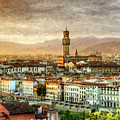 Sunset In Florence Triptych 2 - Palazzo Vecchio - Painting by Weston Westmoreland