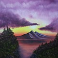 Sunset In Mountains Original Oil Painting by Natalja Picugina