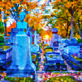 Sunset In Pere Lachaise Abstraction by Ursa Davis