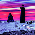 Sunset In Winter At Grand Haven Lighthouse by Nick Zelinsky