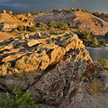 Sunset On Boulders Of Bentonite Site On Little Park Road by Ray Mathis