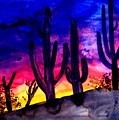 Sunset On Cactus by Michael Grubb