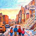 Sunset On Hotel De Ville Street Montreal by Carole Spandau