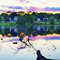 Sunset On Kenoza Lake Haverhill Ma Reflection by Toby McGuire