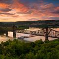 Sunset On Ohio River  by Emmanuel Panagiotakis