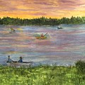 Sunset On The Merrimac River by Anne Sands
