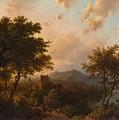 Sunset On The Rhine , Barend Cornelis Koekkoek by Barend Cornelis Koekkoek