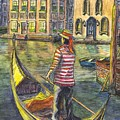 Sunset On Venice - The Gondolier by Carol Wisniewski