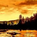 Sunset At  Yellowstone Lake by Jeanie Mann