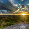 Sunset Over Badlands Np Yellow Mounds Overlook by Donald Pash